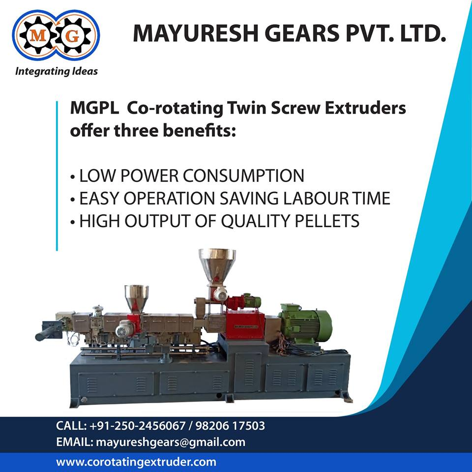 MGPL Co-rotating Twin Screw Extruders offer three benefits: