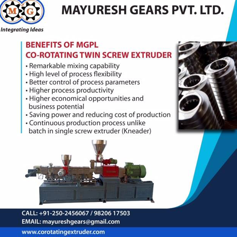 Benefites of MGPL Co-rotating twin screw extruder