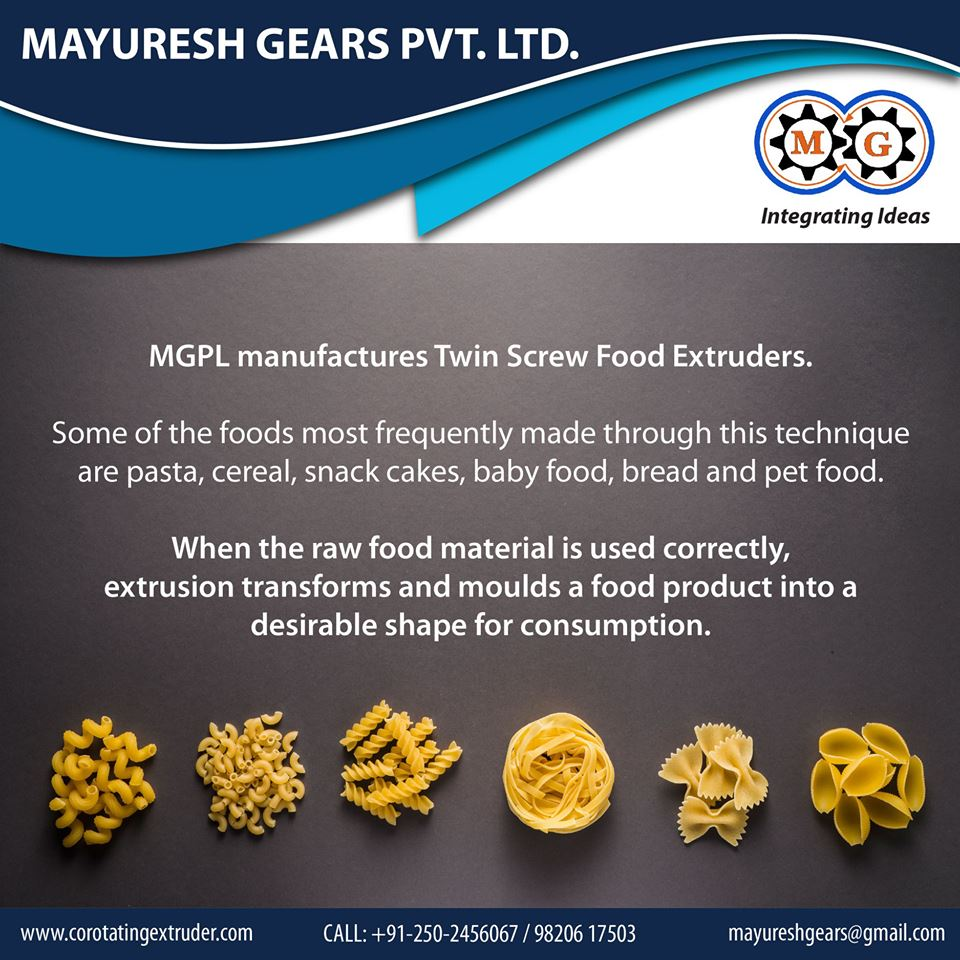 MGPL Manufatures Twin Screw Food Extruders