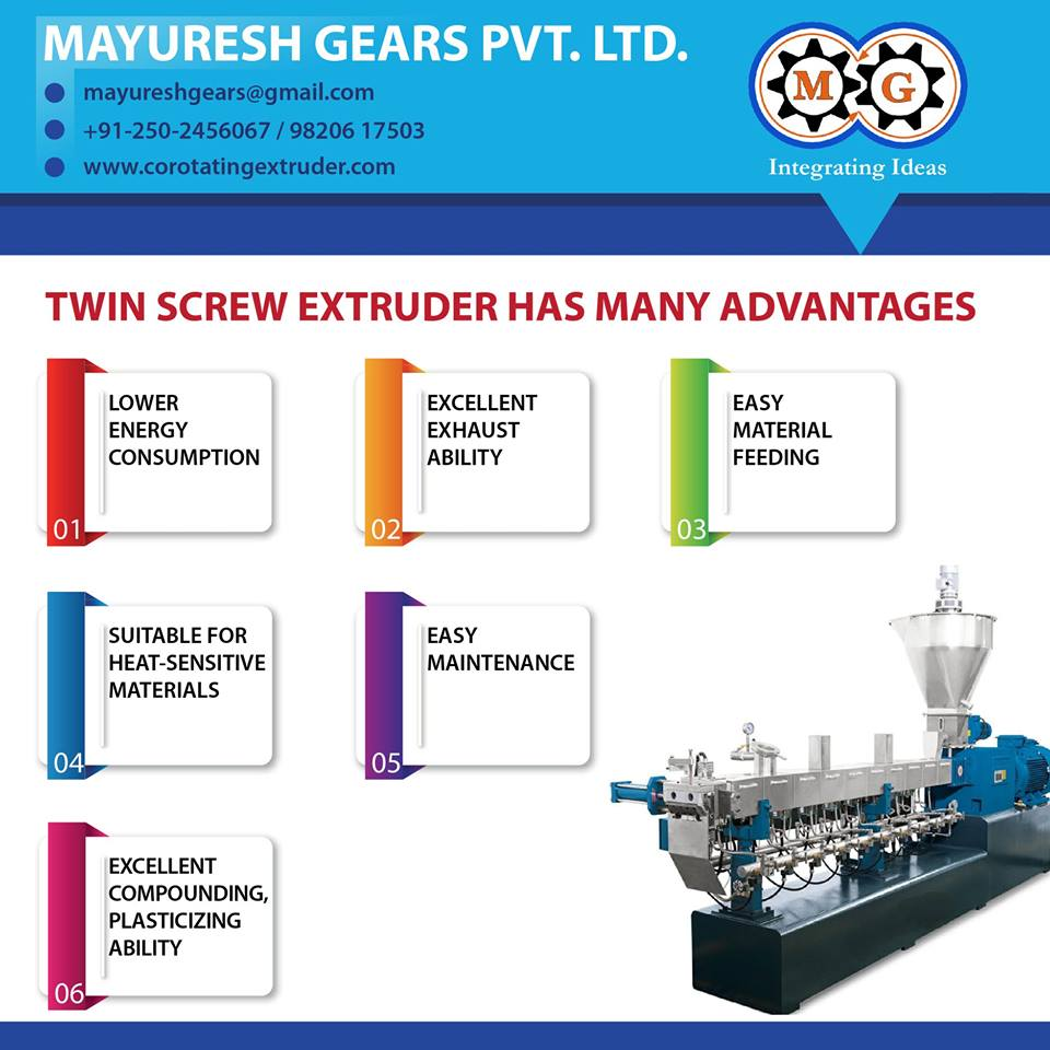 TWIN SCREW EXTRUDER HAS MANY ADVANTAGES