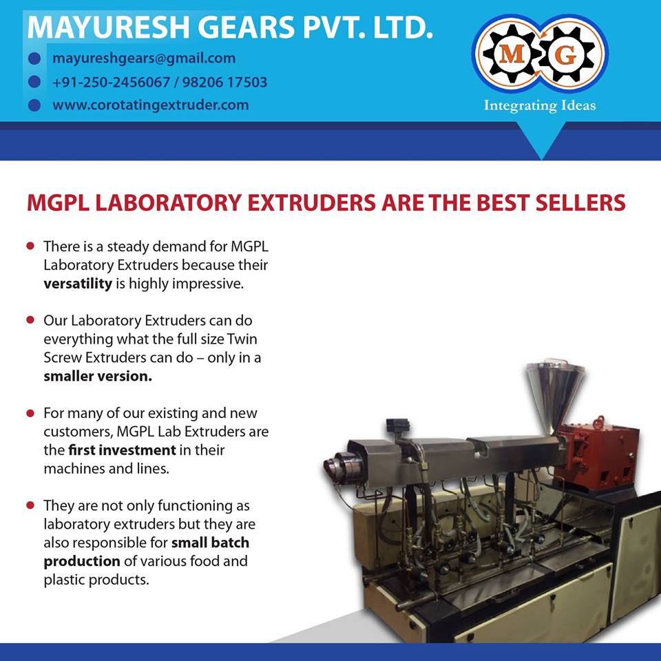 MGPL LABORATORY EXTRUDERS ARE THE BEST SELLERS