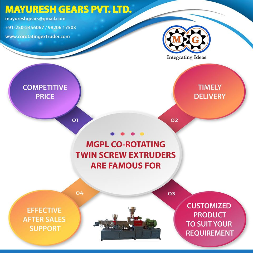 MGPL CO-ROTATING TWIN SCREW EXTRUDERS ARE FAMOUS FOR