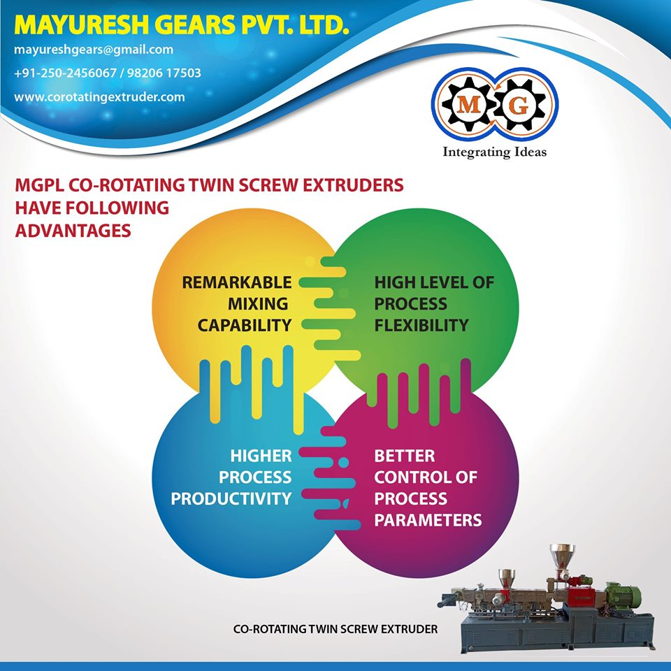 MGPL CO-ROTATING TWIN SCREW EXTRUDERS HAVE FOLLOWING ADVANTAGES