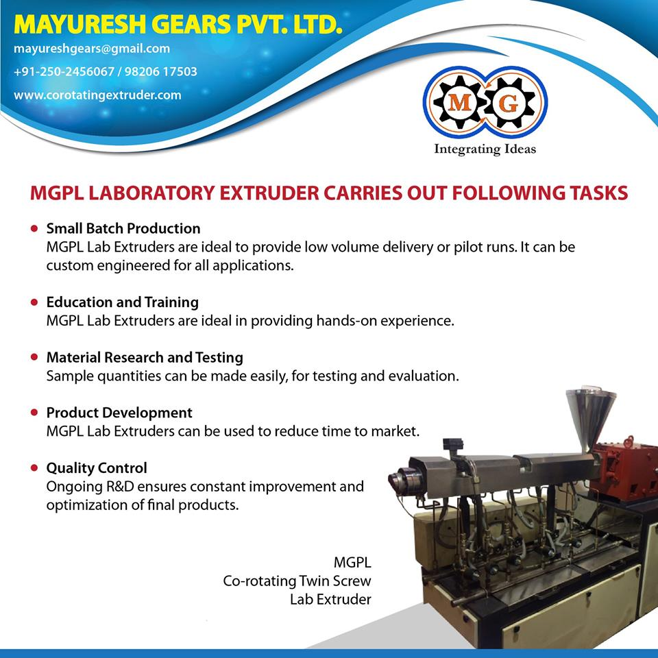 MGPL Laboratory Extruder CARRIES OUT FOLLOWING TASKS