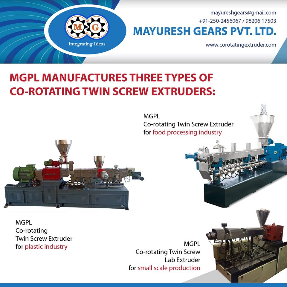 MGPL MANUFACTURES THREE TYPES OF CO-ROTATING TWIN SCREW EXTRUDERS